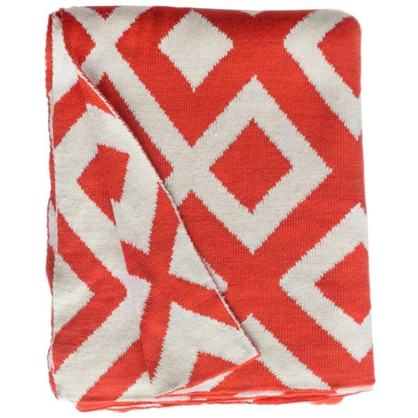 Handmade Marina Knit Carrot Orange and White Geometric Cotton Throw (India)