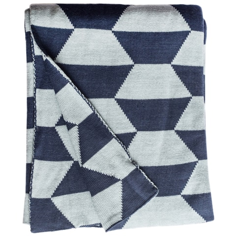 Handmade Faros Knit Geometric Blue Cotton Throw (India)