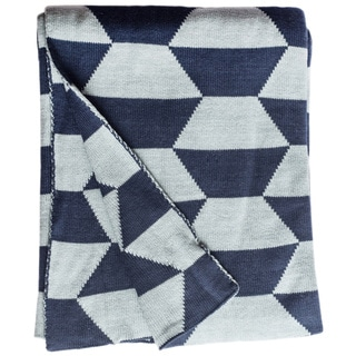 Faros Knit Geometric Blue Cotton Throw Blanket (India)