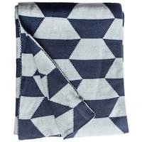 Handmade Faros Knit Geometric Blue Cotton Throw Blanket (India)