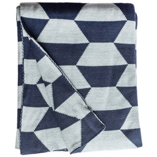 Handmade Faros Knit Geometric Blue Cotton Throw Blanket (India)