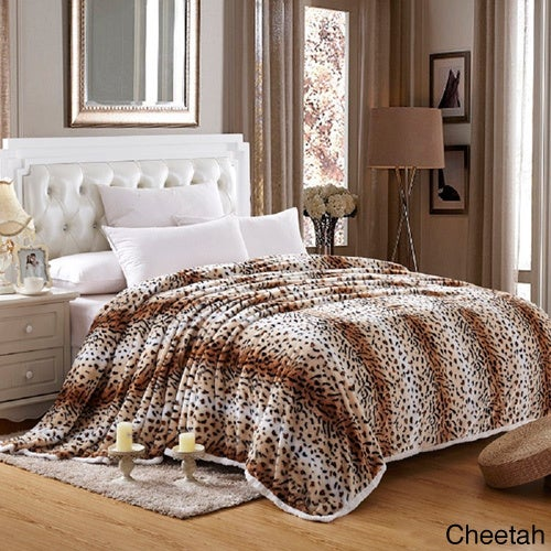 Shop Faux Fur Sherpa Animal Print Blanket Free Shipping On Orders
