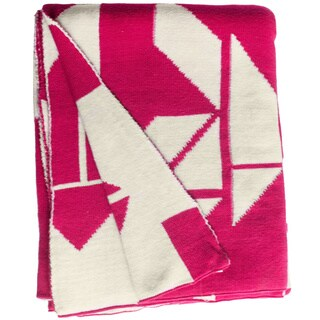 Handmade Santa Cruz Knit Beetroot Pink and White Cotton Throw (India)