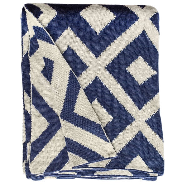 Handmade Marina Knit Indigo Blue and White Cotton Throw (India)
