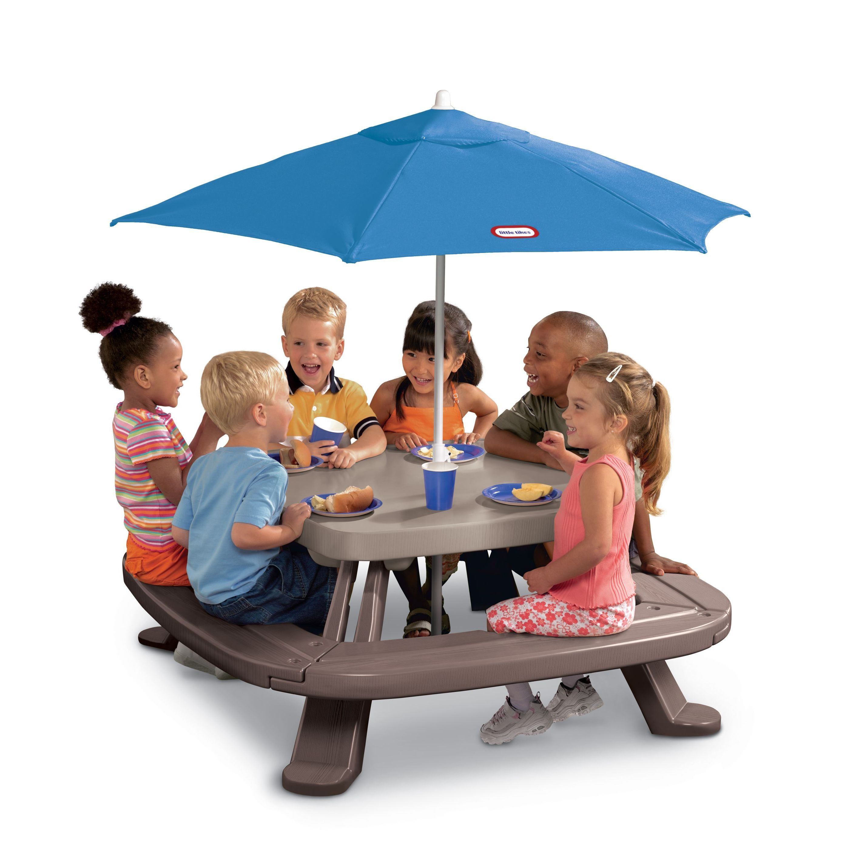 Little Tikes Fold 'n Store Picnic Table with Market Umbre...