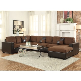 Dannis Chocolate Microfiber Reversible Sectional Sofa