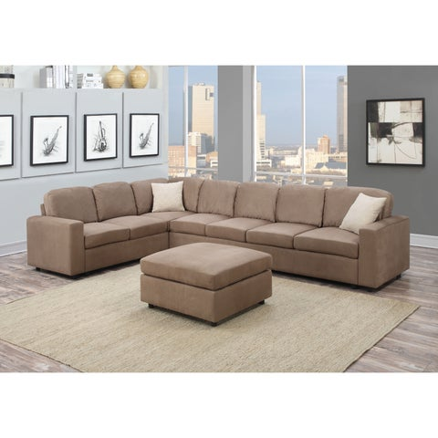 Dannis Saddle Microfiber Reversible Sectional Sofa