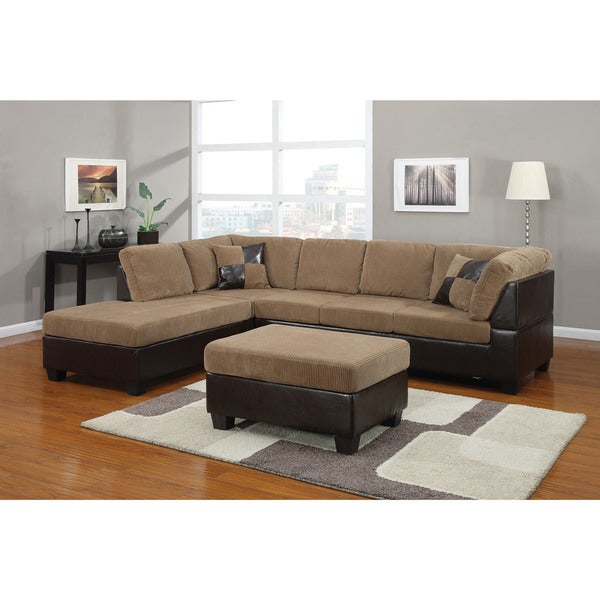 Connell Corduroy/ Espresso Sectional Sofa - Free Shipping Today - Overstock.com - 16925566  sc 1 st  Overstock.com : corduroy sectional - Sectionals, Sofas & Couches