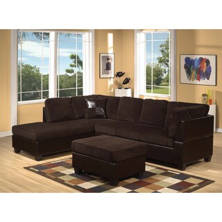 Connell Corduroy/ Espresso Sectional Sofa