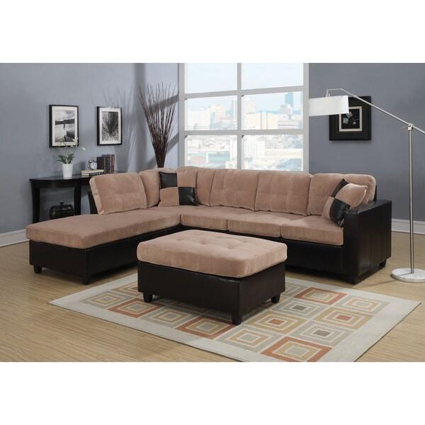 Milano Camel Champion Espresso Reversible Sectional Sofa