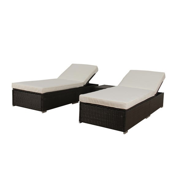 Rattan lounge  BroyerK 3-piece Outdoor Rattan Lounge Patio Furniture Set - Free ...