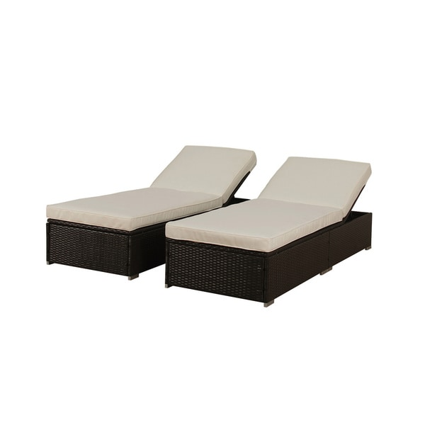 6 Lounging Chairs For Outdoors Outdoor Patio Synthetic Rattan Wicker 3 Piece Chaise Lounge Chair