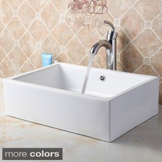 Elite C148+882002 Rectangle High Temperature Grade A Ceramic Bathroom Sink and Faucet