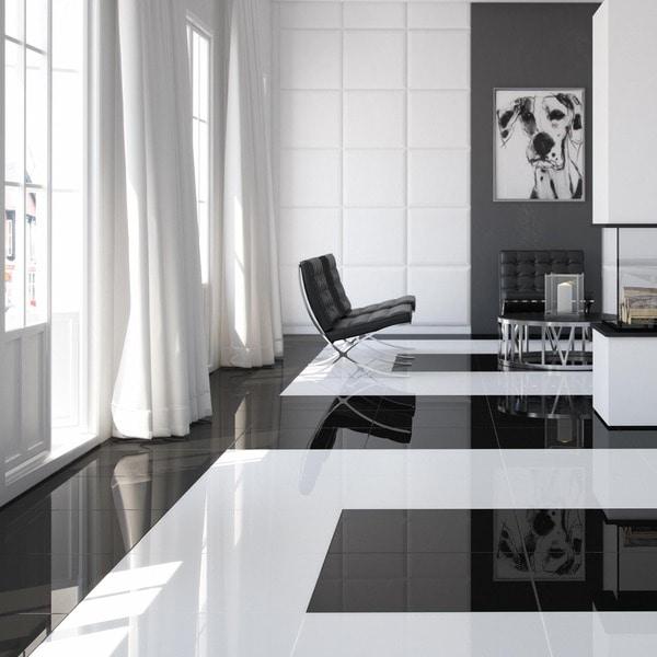 Black Gloss Kitchen Floor Tiles: SomerTile 17.75x17.75-inch Pianoforte Black Porcelain