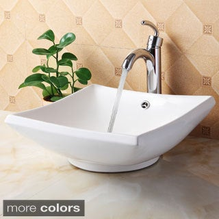Elite 4125+882002 Square High Temperature Grade A Ceramic Bathroom Sink and Faucet