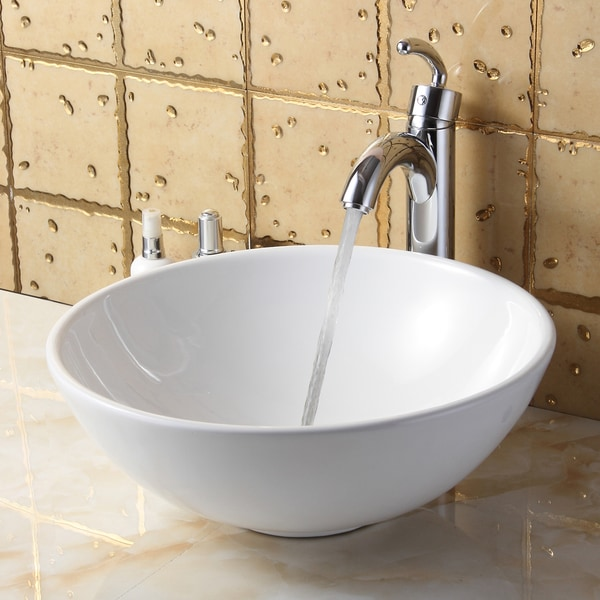 Elite Round High Temperature Grade A Ceramic Bathroom Sink and Faucet, Sink Model 4157