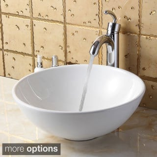 Elite 4157+882002 Round High Temperature Grade A Ceramic Bathroom Sink and Faucet