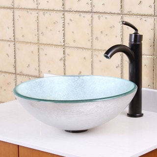 Elite 1308+882002 New Tempered Glass Silver Bathroom Vessel Sink and Faucet Combo