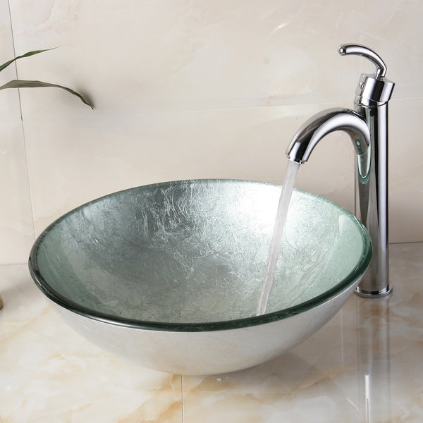 Elite 1308+882002 New Tempered Glass Silver Bathroom Vessel Sink and ...