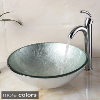 elite new tempered glass silver bathroom vessel sink and faucet combo