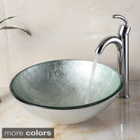 Elite 1308 882002 New Tempered Gl Silver Bathroom Vessel Sink And Faucet Combo