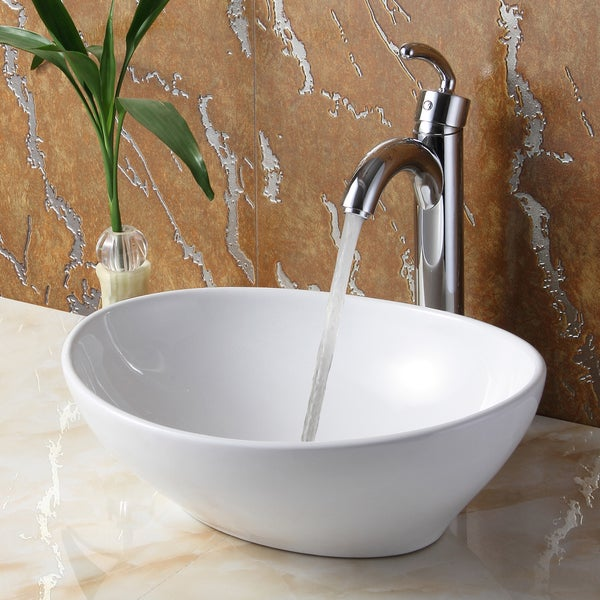 Bathroom Sinks Overstock elite 8089 oval high temperature vessel bathroom sink and faucet