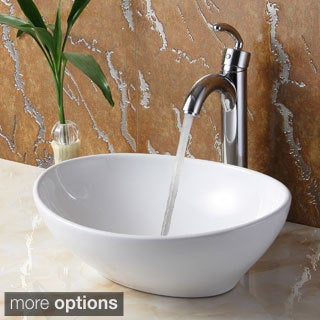 Elite 8089 Oval High Temperature Vessel Bathroom Sink and Faucet