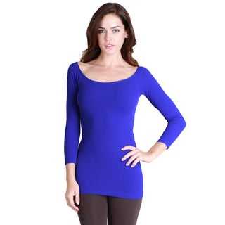Nikibiki Women's Seamless 3/4 Sleeve Boat Neck Top