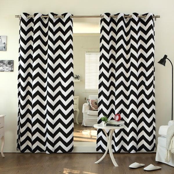 Aurora Home Velvet Chevron Print Grommet Top 84-inch Curtain Panel Pair - 52 x 84