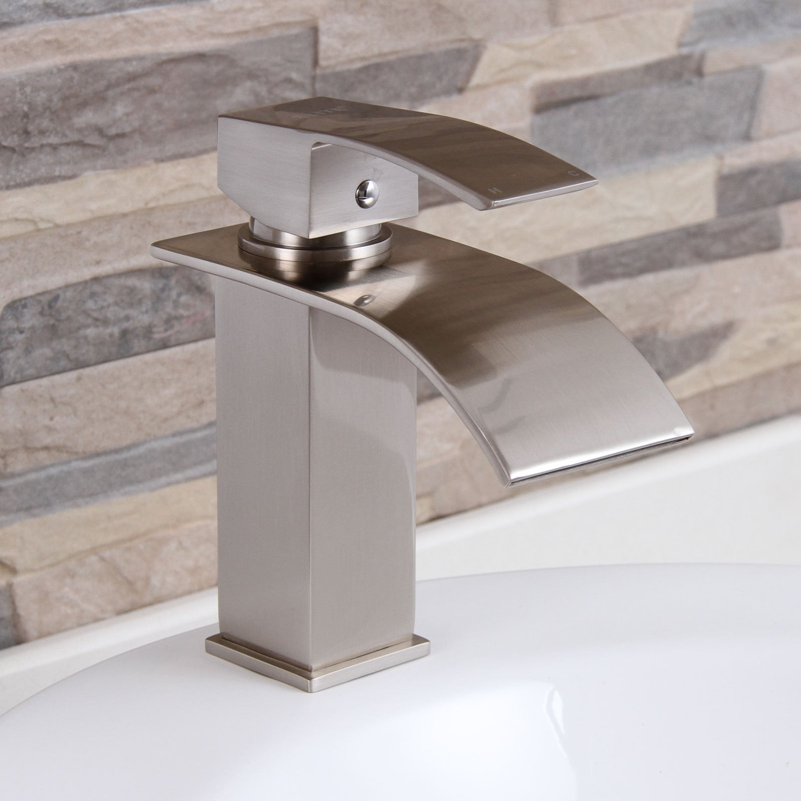 Picture of: Shop Black Friday Deals On Elite 8803bn Brushed Nickel Modern Bathroom Sink Waterfall Faucet Overstock 9753224