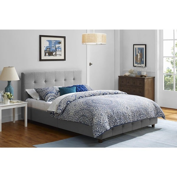 DHP Rose Grey Linen Upholstered Bed - Free Shipping Today ...