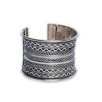 Handmade Textured Silverplated Cuff Bracelet (India)