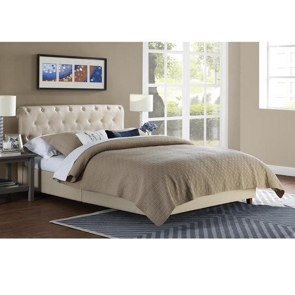 DHP Carmela Tan Linen Upholstered Bed