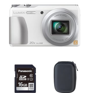 Panasonic ZS35 White Digital Camera and 16GB SD Card Bundle (Refurbished)