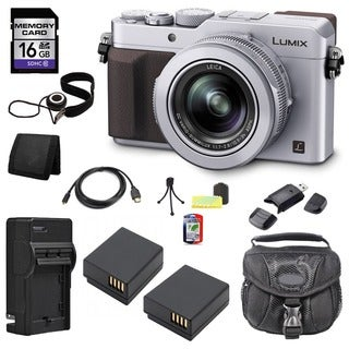 Panasonic Lumix DMC-LX100 12.8MP Silver Digital Camera and 16GB SD Card Bundle