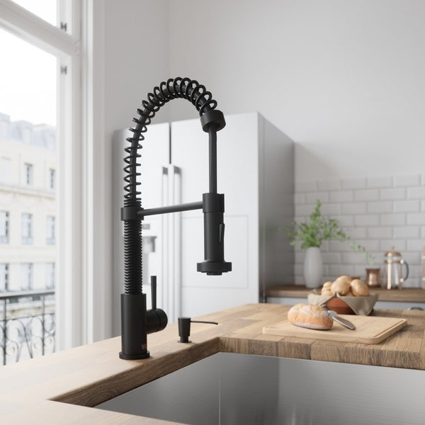 Shop VIGO Edison Matte Black Single Handle Pull-Down Spray Kitchen ...