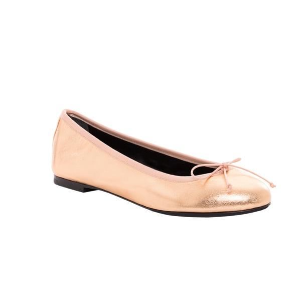 Saint Laurent Women's Gold Dance Ballerina Leather Flats