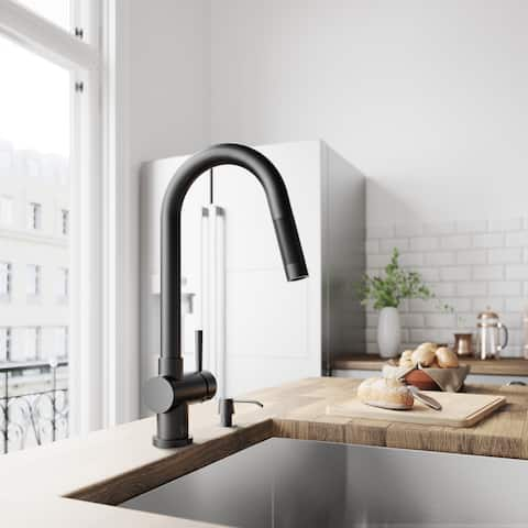 VIGO Gramercy Matte Black Pull-Down Kitchen Faucet
