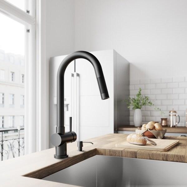 VIGO Gramercy Pull-Down Kitchen Faucet In Matte Black