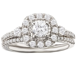 Avanti 14k White Gold 7/8ct TDW Cushion Halo Diamond Bridal Ring Set (G-H, SI1-SI2)
