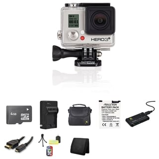 GoPro HERO3+ Silver Edition Camera 4GB SD Card Bundle