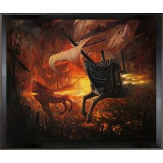 Adrian Borda Spanish Galions on Fire Framed Fine Art Print
