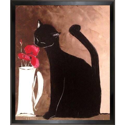 Atelier De Jiel Black cat with poppies Framed Fine Art Print