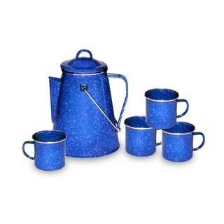 Stansport Enamel Percolator Coffee Pot and Set of 4 Mugs