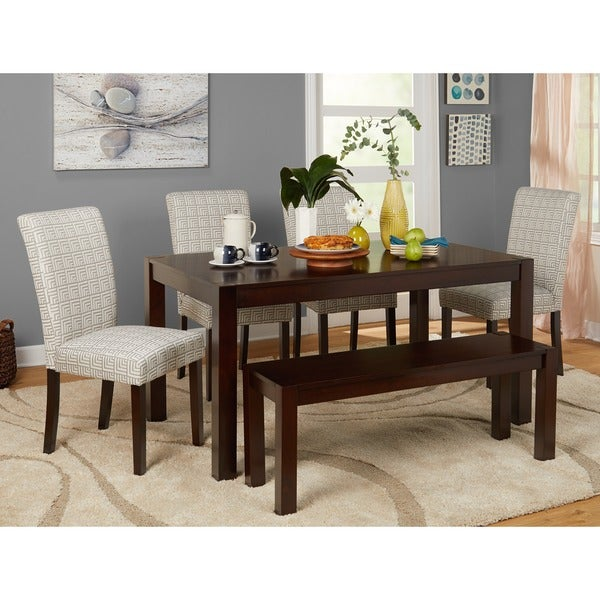 Simple Minimalist Dining Set: Simple Living Axis 6-piece Dining Set With Dining Bench