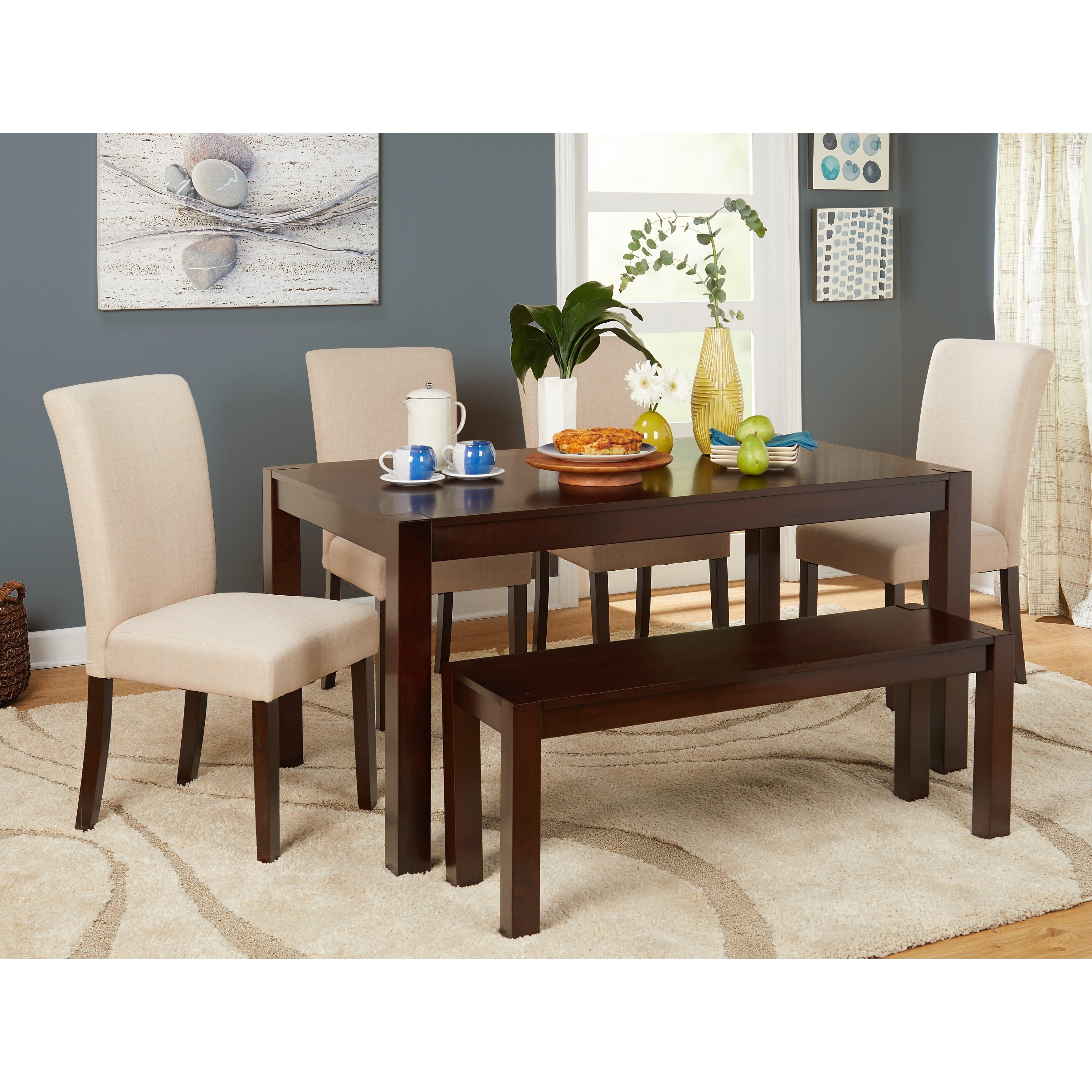 Simple Living Axis 6 Piece Dining Set With Bench