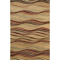 Bowery Beige Wave Area Rug - 5' x 8'