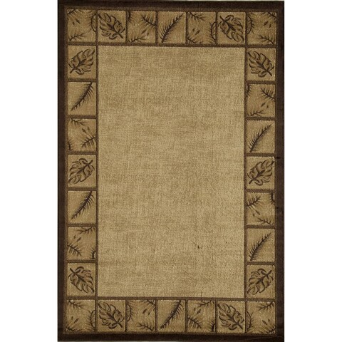 Bowery Gold Floral Border Area Rug - 5' x 8'