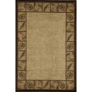 Bowery Gold Floral Border Rug (5' x 8')
