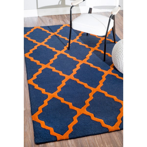 nuloom handmade modern wool blue orange trellis rug 5 39 x 8 39 free shipping today overstock. Black Bedroom Furniture Sets. Home Design Ideas